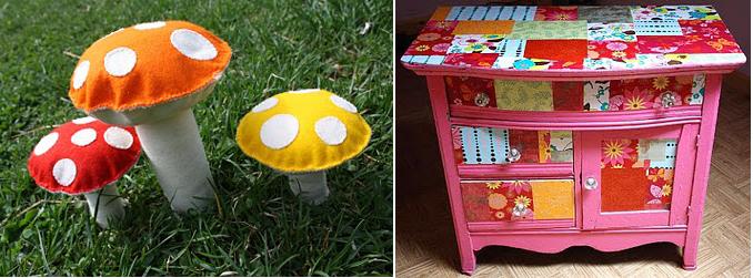 Felt mushrooms+decoupage dresser