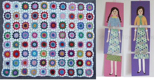 Granny blanket + triptych paintings