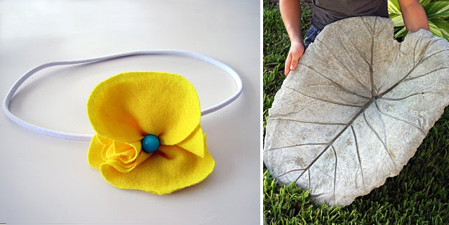 Cast concrete leaf + t-shirt flower headband