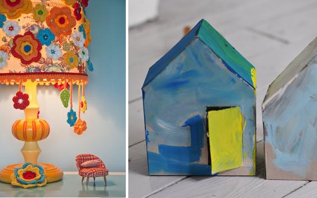 Crocheted flower lampshade,painterlyhouses