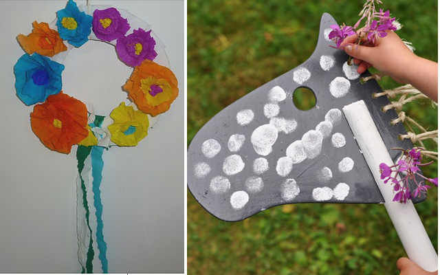 Kids crepe paper wreath+simple hobby horse