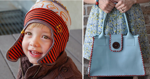 Upcycled hat, leather purse