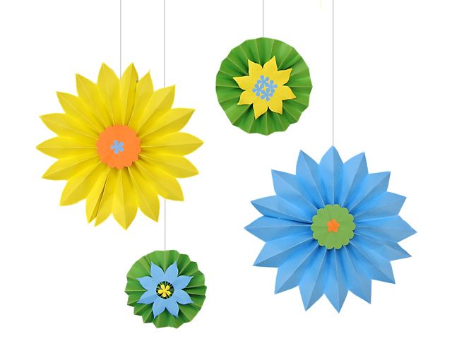 Paper Party Decorations; Accordian Stars + Medallions For Succah