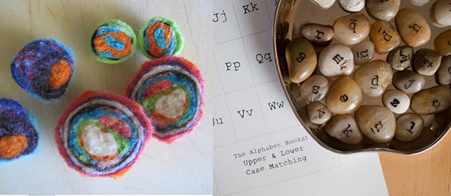 Felted geodes+stamped alphabet rocks