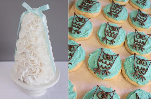 Cupcake-liner-tree+owl cookies