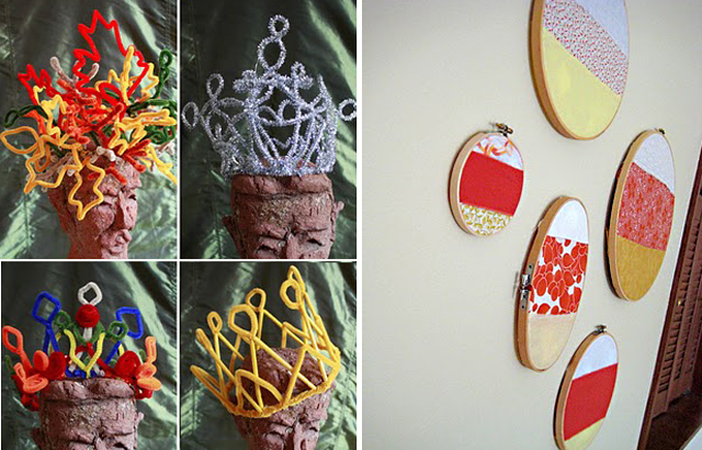 Pipe cleaner crowns+easy fabric hoop pictures