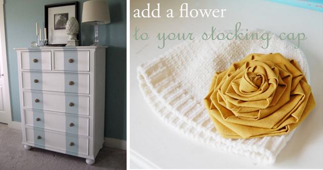 Dresser makeover+fabric flower winter hat