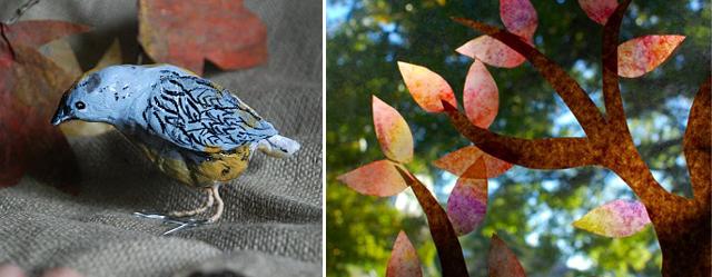 Paper Mache Bird, Fall Tree Window art