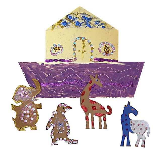 Noah's Ark For Kids; Glitter & Sequins