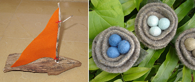 Bark Boat and Felted Bird's Nests