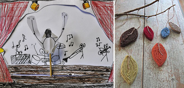 Toothpick puppet show+yarn leaves mobile