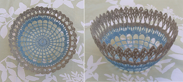 Crocheted Doily bowl 2 views