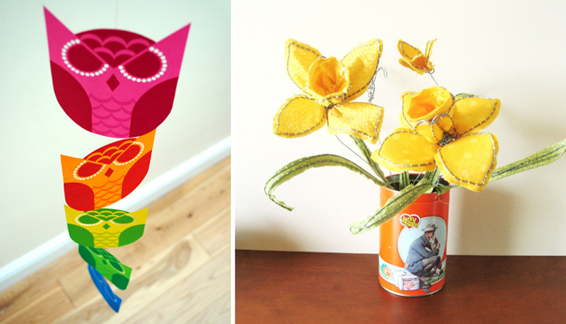 Owl printable, fabric wire flowers