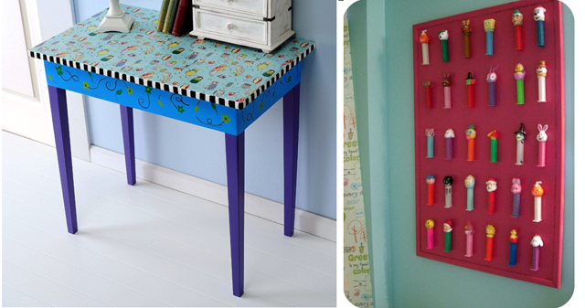 DIY Fabric Decoupage Table, Pez collection display