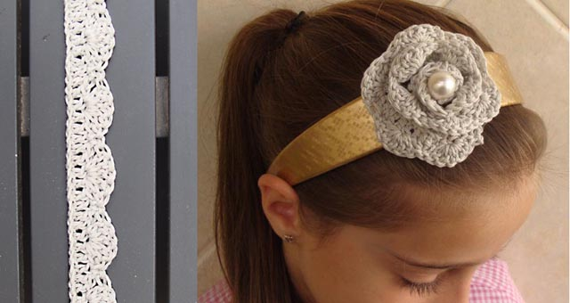 Crocheted rosette flower headband on