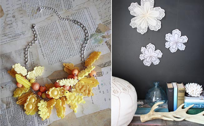 Hair Clip Necklace+Paper Doily Stars