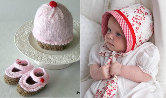Knit Cupcake Baby Hat + booties, Sewn Baby Bonnet