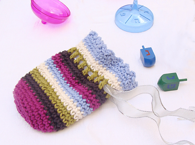 Free Crochet Pattern: Sweet Striped Pouch For Gelt and Gifts ...