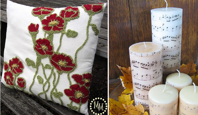 Yarn Decorated Pillow+sheet music candles