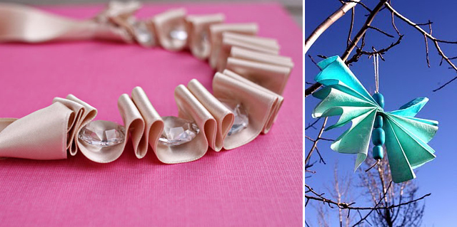 Ribbon-crystal necklace+coffee filter butterfly