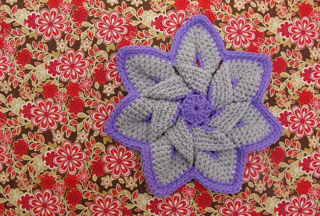 Crocheted Flower Folded Purple2
