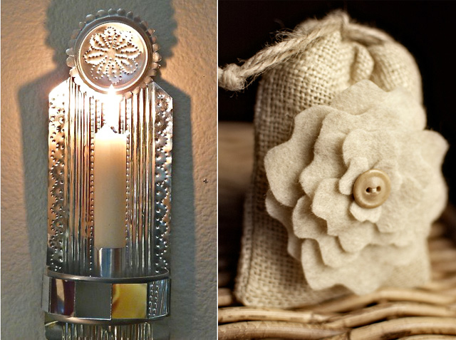 Tin can sconce, burlap favor bag