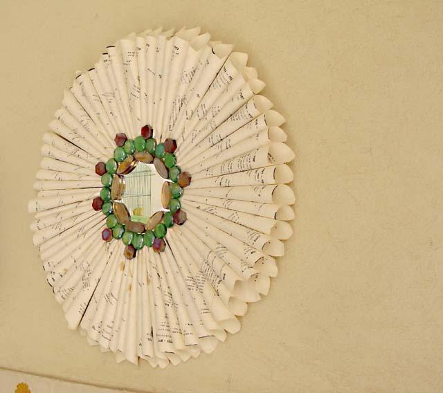Make A Recycled Book Page Sunburst Mirror! - creative jewish mom