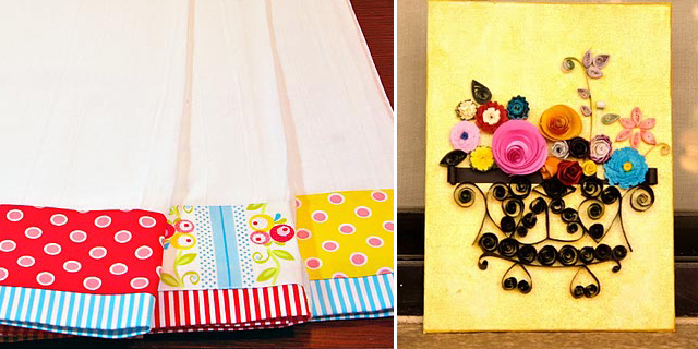 Retro Dish towels +Quilled Flower Art