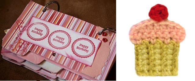 Crocheted Cupcake applique +Birthday Calender