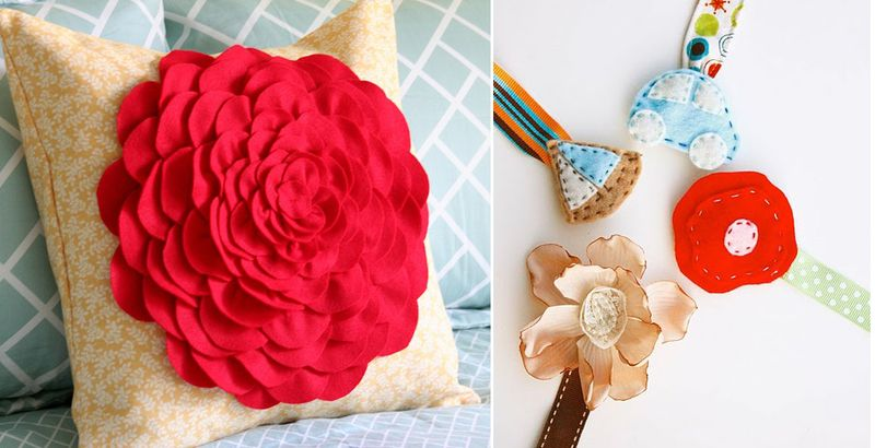 Felt Flower pillow +paci clips
