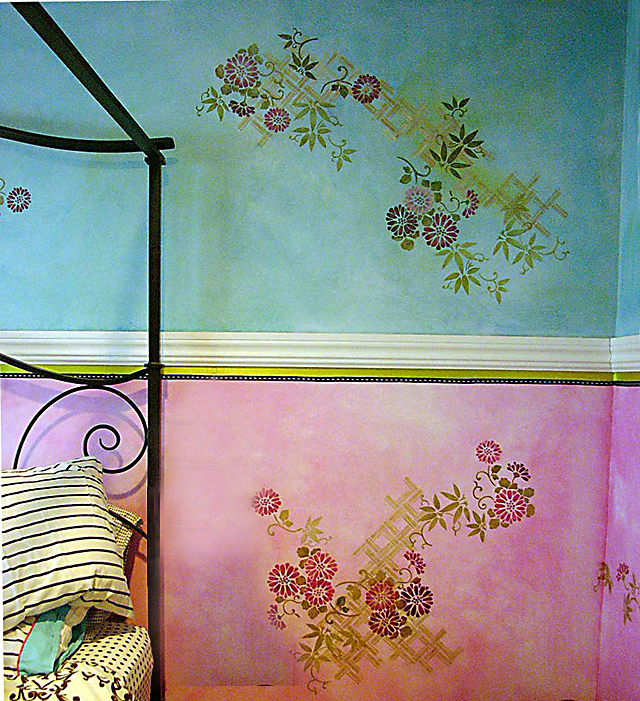 Color Washed and Stencilled Walls