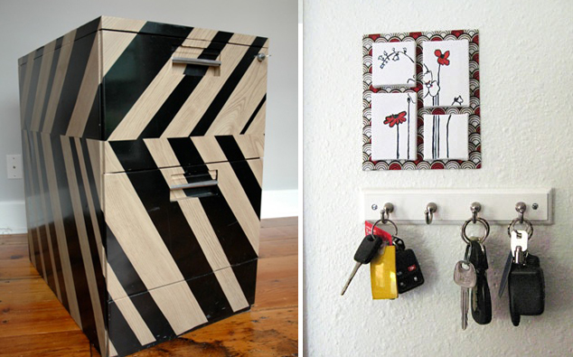 Contact paper file cabinet +tiny art