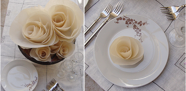 Paper Cabbage Rose Individual Plate