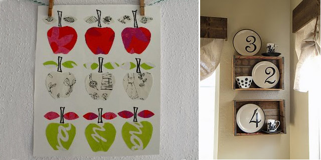 Apple collage picture,crate plate rack
