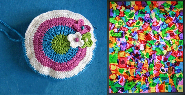 Crochet coin purse+tissue paper window collage