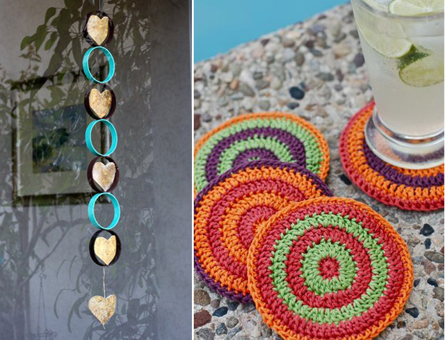 Crocheted coasters= recycled window decor