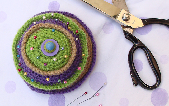Crocheted Layered Pin Cushion top view