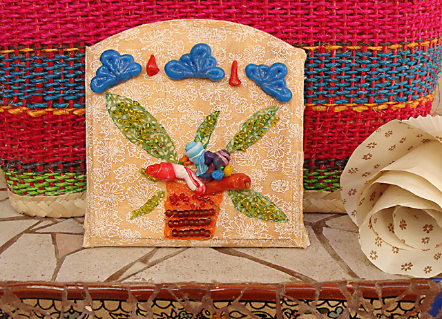 Fimo Plaque With Fabric