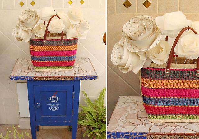 Paper Flowers Centerpiece in Basket