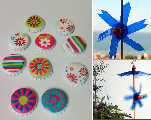 Bottle cap magnets, plastic bottle wind mill