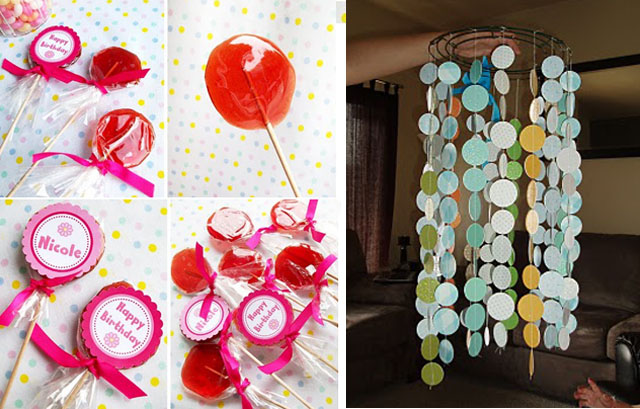 Homemade sugar lollipops+ circles mobile