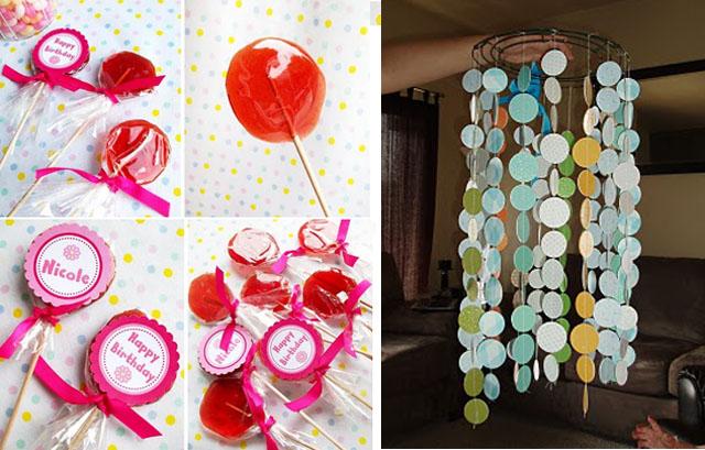 Homemade sugar lollipops+ circles mobile