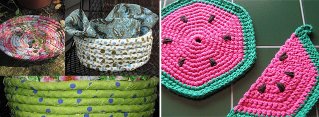 Coiled Fabric Baskets+watermelon hot pad crocheted