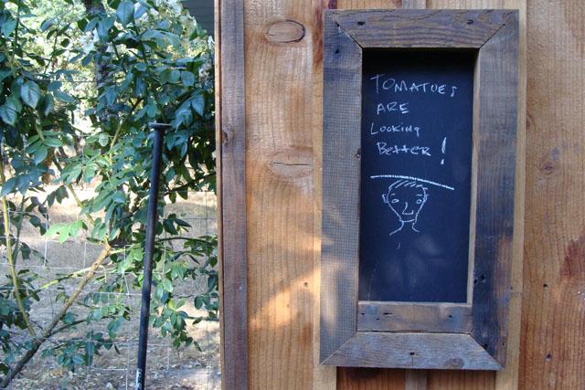 Slice of Life;garden shed blackboard