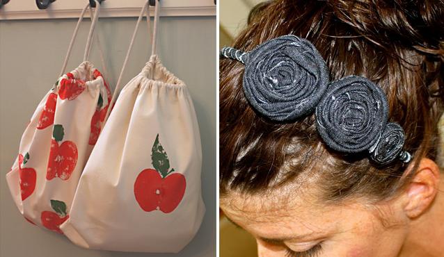 Apple-backpacks+coiled flower headband