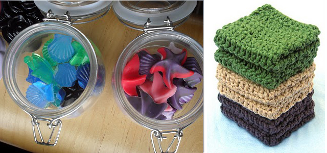 Homemade soap+crocheted washcloths