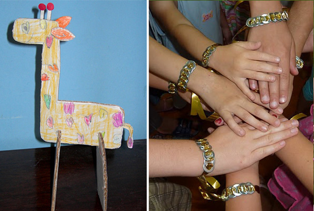 Cardboard giraffe,girls washer bracelets