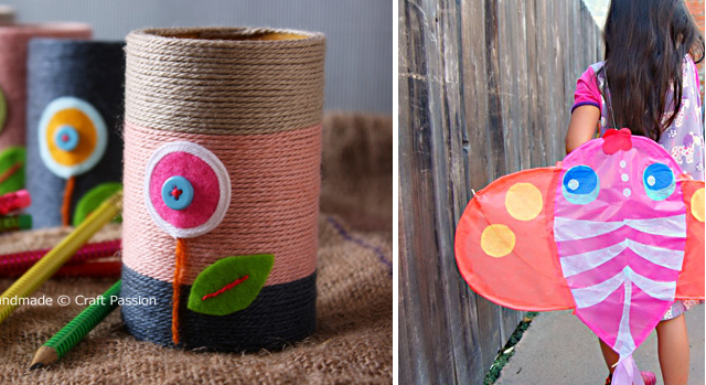 Yarn pencil holders,homemade kites