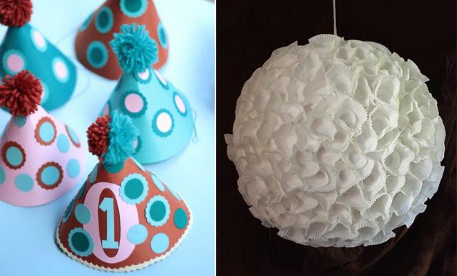 Birthday hats+cupcake liner lamp shade