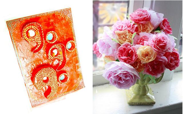 Tape dispenser art+coffee filter flowers